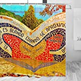 Perú Lima Cortina de ducha Viaje Decoración de baño Set con ganchos Poliéster 72x72 Pulgadas (YL-04622)
