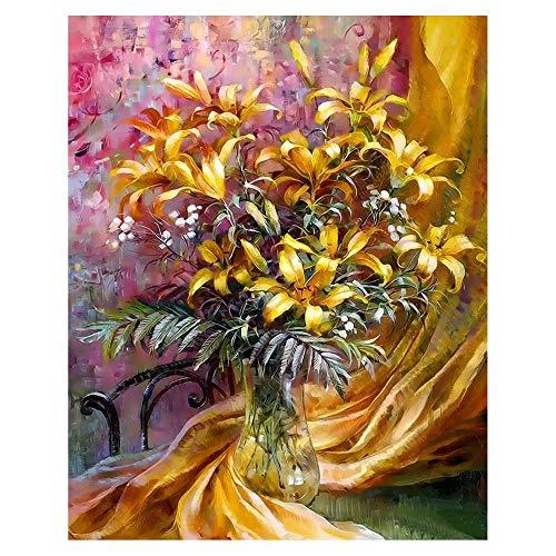 yyygg Vorgedruckt Leinwand-Ölgemälde Vase in der Nähe des Vorhangs malen nach Zahlen Erwachsene mit Rahmen Weihnachts geschenke-16 x 20 Zoll(Rahmenlos)