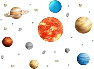 HoneyGirl Solar System 8 Planets Sun Moon Wall Stickers Removable Wall Decoration Stickers, for Kid Bedroom Living Room Of...