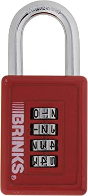 Brinks 175-50054 4 Dial Resettable Sports Combination Padlock, 40mm (Assorted colors)