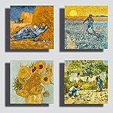 Printerland Quadri Moderni Stile Van Gogh Girasoli Notte Stellata 4pezzi 30x30 cm Stampa Tela Canvas Arredamento Arte Astratto XXL Arredo Soggiorno Salotto Camera Letto Cucina Ufficio Bar Ristorante