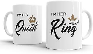 Gift Original I`m His Queen I`m Her King Valentine`s Wedding Anniversary Ceramic Coffee Mugs