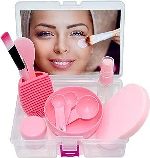 Face Mask Bowl Set, Lady Facial Care Mask Facemask Mixing Tool Sets, Bowl Stick Brush Gauge Cleaning Mat (11 in 1 Set -Pink)