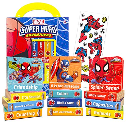 Marvel Super Hero Adventures Spider-Man Board Books Set Toddlers Babies Bundle ~ Pack of 12 Chunky My First Library Superhero Board Book Block with Stickers (Avengers Books for Infants)