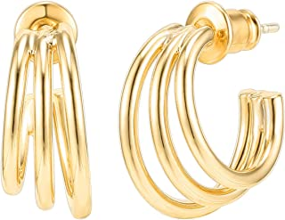 PAVOI 14K Gold Plated Sterling Silver Post Split Huggie Earrings | Rose/White/Ye