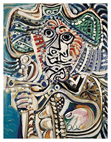JH Lacrocon Mosquetero con Espada 1972 de Pablo Picasso - 90X120 cm Pinturas Abstracto a Mano Reproducción sobre Lienzo Enrollado Decoración Pared para Salón
