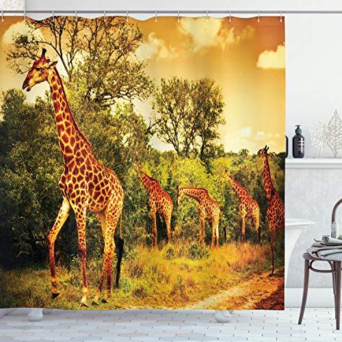 ABAKUHAUS Giraffe Duschvorhang, AfrikaNische Safari Tiere, Bakterie Schimmel Resistent inkl. 12 Haken Waschbar Stielvoller Digitaldruck, 175 x 200 cm, Dunkel Orange grün
