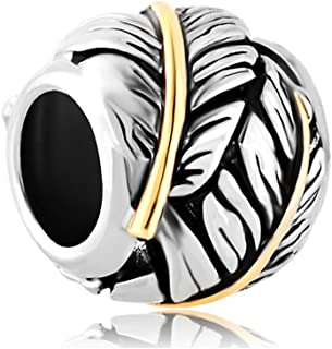 Christmas Gifts New Sale Cheap Feather Silver Plated Charm Beads Fit Pandora Jewelry Charms Bracelet