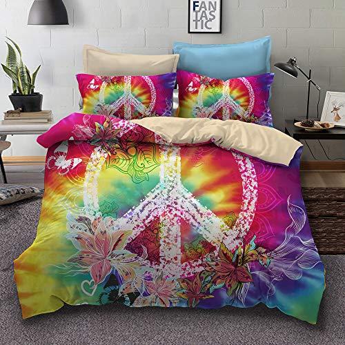 BH-JJSMGS Peace symbol three-piece bedding, printed duvet cover and pillowcase, GG, 260x220cm