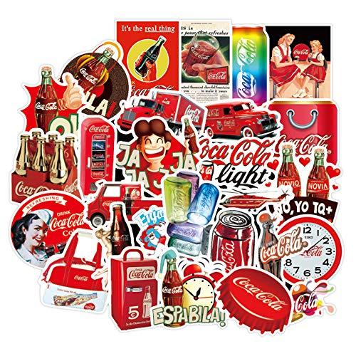 WWJIE Pegatinas de Coca-Cola para Equipaje de Europa y América, Pegatinas de Maleta con Ruedas de Viaje Retro, Pegatinas Impermeables para Cascos de Ordenador, 50 Hojas