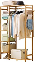 Ufine Bamboo Garment Rack 6 Tier Storage Shelves Clothes Hanging Rack with Side Hooks, Heavy Duty Clothing Rack Portable W...