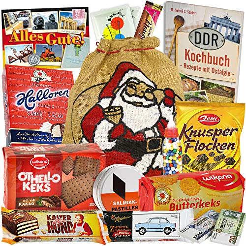 Weihnachtsbeutel mit Ostdeutschen Süßigkeiten +++ Geschenksäckchen zum Weihnachtsfest +++ Halloren-Kugeln Classic, Viba Nougat Stange, Kalten Hund Blister und noch viele weitere klassische Ossi - Versuchungen +++ +++ Geschenk für Oma und Opa Geschenkideen Weihnachten für Oma Weihnachts Geschenke für Männer Weihnachtsgeschenke für Frauen Geschenkideen zu Weihnachten Geschenkidee zu Weihnachten für Freundin