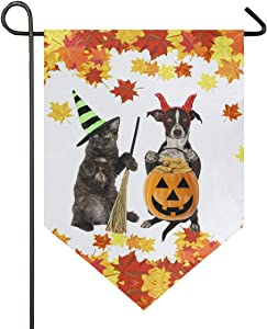 Oarencol Black Kitten and Puppy Halloween Pumpkin Cookies Garden Flag Maple Leaves Funny Cat Dog Witch Hat Double Sided Home Yard Decor Banner Outdoor 12.5 x 18 Inch