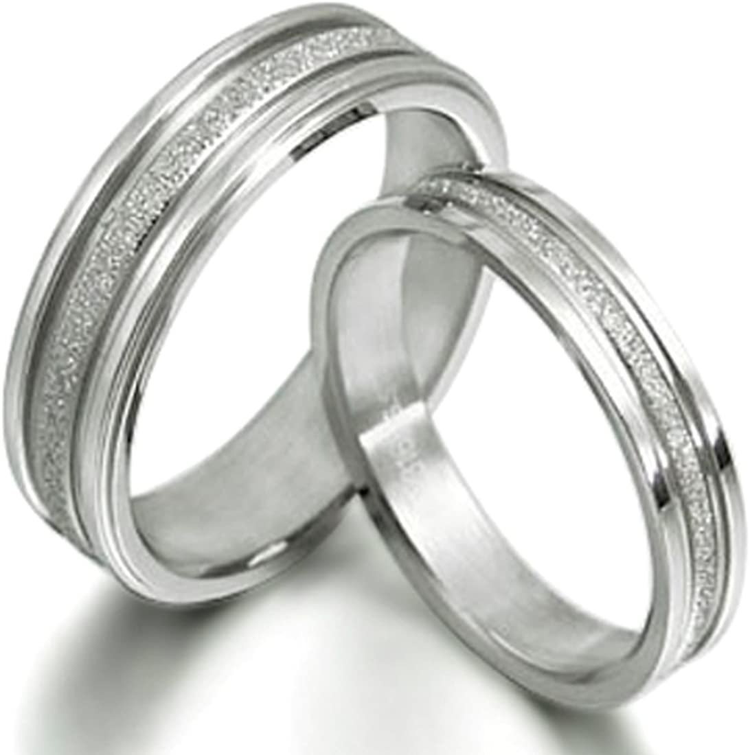 Gemini Groom & Bride Matching Couple Titanium Wedding Engagement Rings Set 6mm & 4mm Width Men Ring Size : 15 Women Ring Size : 7 Valentine's Day Gifts