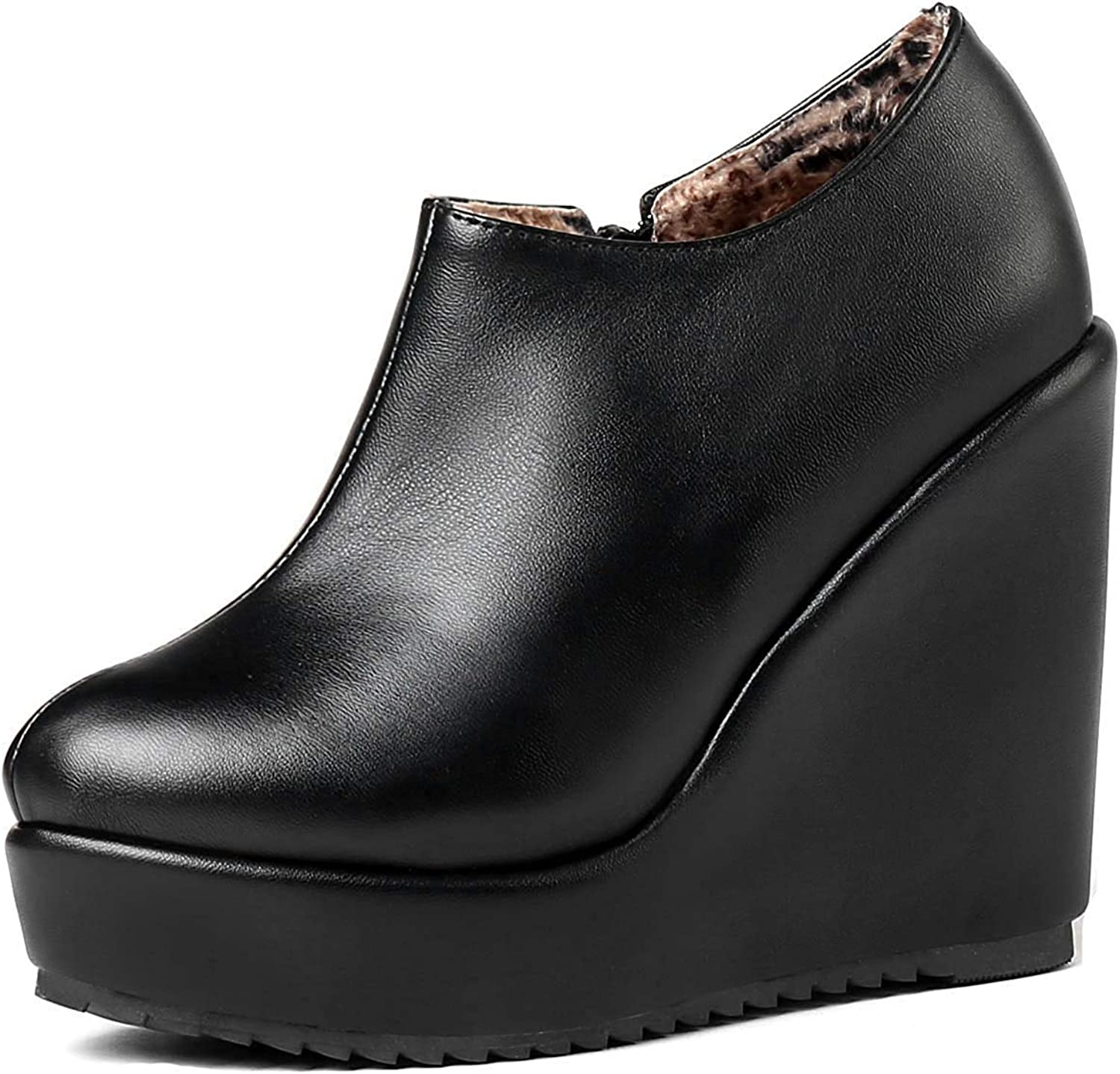 Unm Women's Fashion Round Toe Inside Zip Up Platform Ankle Boots High Heel Wedge Booties with Zipper