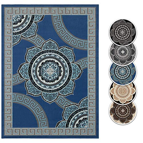 Teppich Boss Design Kurzflor Teppich Dehli Mandala Kreise Bordüre im Versace Muster, Farbe:Blau, Größe:160x220 cm