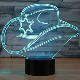 YKL WORLD 3D Illusion Lamp Cowboy Hat LED Night Light Touch Control 7 Colors Changing Table Lamp Bedroom Bedside Decor Lighting Christmas Birthdays Gifts for Boys Girls Toys
