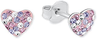 Princess Lillifee children's heart stud earrings, 925 silver, rhodium-plated crystal, multiple colours, 2013168.