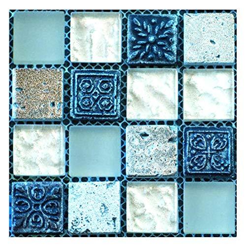 Demiawaking 20pcs Adesivi per Piastrelle Mosaico 3D Adesivi Murali Mosaico Autoadesivo Impermeabile Adesivi da Parete per Bagno Cucina Decorazioni per la Casa 10 x 10 cm (Blu)