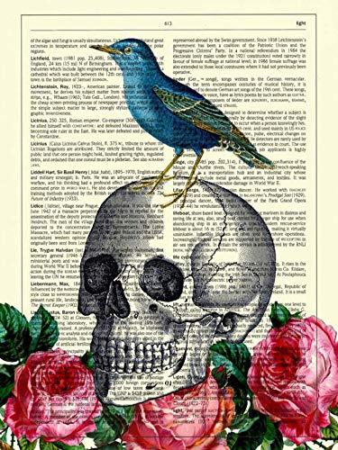Nessuna Cornice Cranio di Halloween Vintage Teschio Blu Farfalla Amore Cuore Tela Stampa Foto Soggiorno Poster da Parete art30x40cm