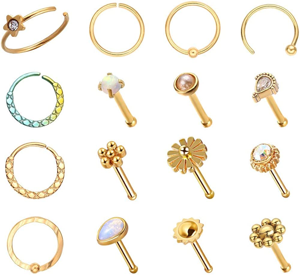 WASOLIE 16 Popular overseas PCS Gold Max 42% OFF Nose Studs Steel Pie Women for Surgical