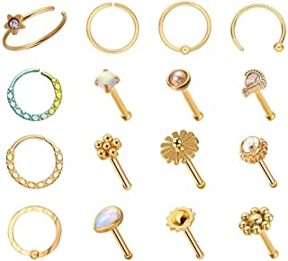 WASOLIE 16 PCS Gold Nose Studs for Women Surgical Steel Nose Piercings Jewelry Screw Men Black Nose Piercing Rings.