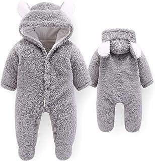 ATHEMEET Baby Fleece Footed Romper Soft Cute Coat Front Snap Cotton Snowsuit