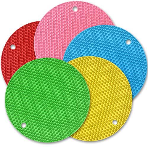 Cozihom Colorido tapete de silicona salvamanteles, almohadilla de silicona multifunción, almohadillas calientes, antideslizante alfombrilla de aislamiento de silicona, extra gruesa, 5 paquetes