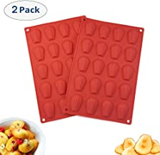 COKWO Silicone Madeleine Pan (2 Pack) - 20-Cup Madeleine Mold for Baking, Cookie,Chocolate, Shell Shape Cake Mold Pan