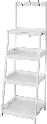 Haotian Ladder Shelf Coat Rack Storage Display Shelving Rack,Bathroom Shelf Storage,FRG279-W,White