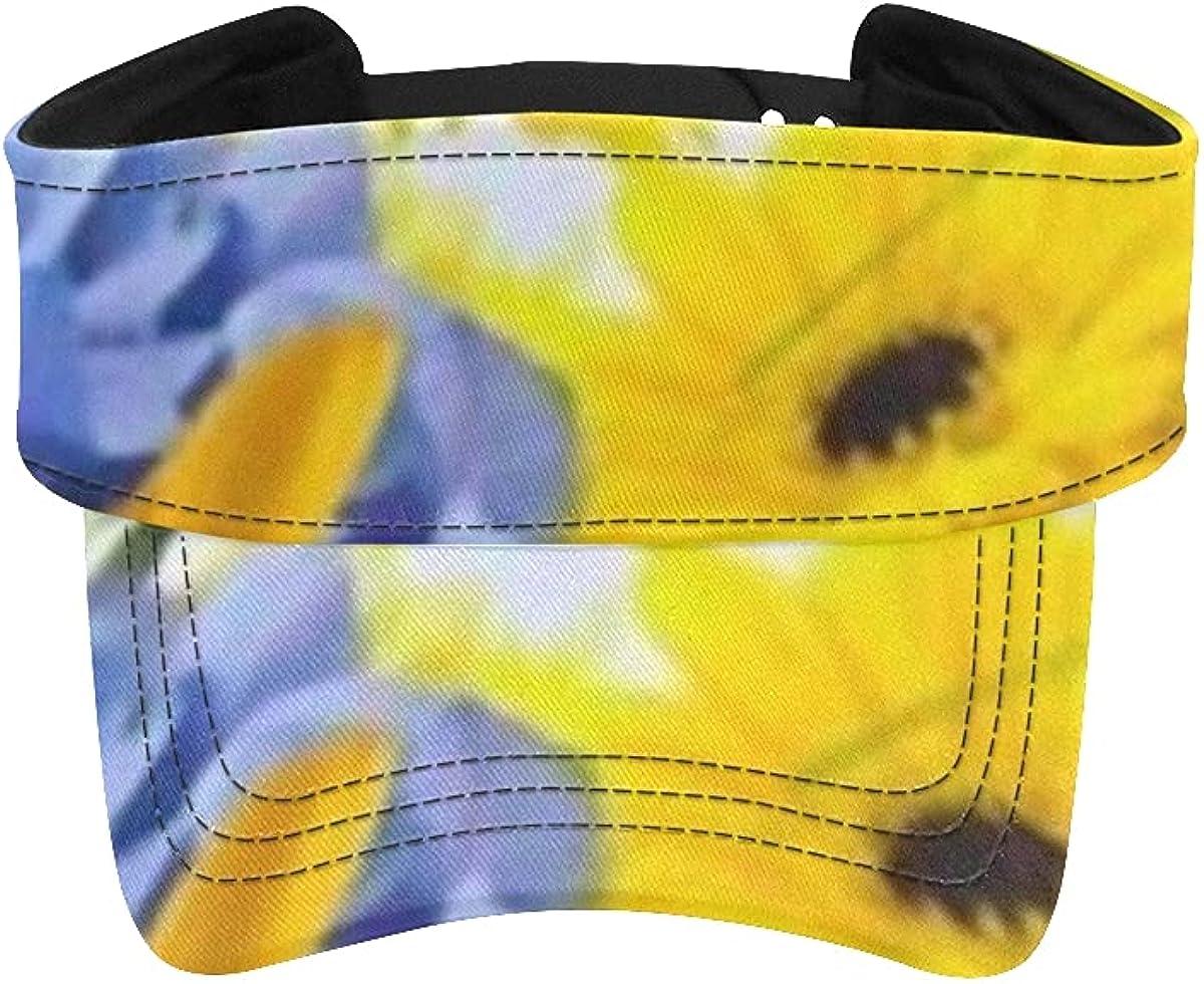 Sun Visor Hat Amazing Max 53% OFF Background Cheap Hydrangeas Daisies Yellow Blue