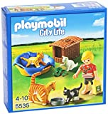PLAYMOBIL Veterinaria - City Life Familia de Gatos con Cesta Playsets de Figuras de jugete 5535