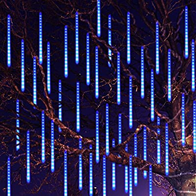 Ayunhao LED Outdoor Lights 8 Tube Meteor Shower Rain Lights Solar Powered Icicle Raindrop Snow Falling Lights Cascading Lighting for Garden Outdoor Patio Holiday Wedding Party Decoration