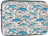 BONRI Deers and Trees Funda para portátil compatible con estuche para ordenador portátil clásico de 10-17 pulgadas - Dolphin Fish, 12 pulgadas