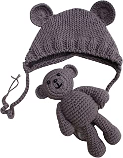 e9da4db9344 YeahiBaby Newborn Photography Props Cute Knitted Hat Boys Girls Photo Shoot  Cap with Crochet Toy Bear