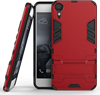 Case for HTC Desire 10 Lifestyle (5.5 inch) 2 in 1 Shockproof with Kickstand Feature Hybrid Dual Layer Armor Defender Protective Cover (Red)