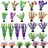 Plantas de Acuario,24 piezas de Plantas de Plástico para Acuarios 16 Estilos Plantas Artificiales para Acuarios Adornos para el Hogar Diseño Realista Acuáticas Falsas para Decoración de Acuarios