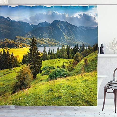 ABAKUHAUS Landschaft Duschvorhang, Sommer-Morgen-See, Leicht zu pflegener Stoff mit 12 Haken Wasserdicht Farbfest Bakterie Resistent, 175 x 180 cm, Grün-Blau-Gelb