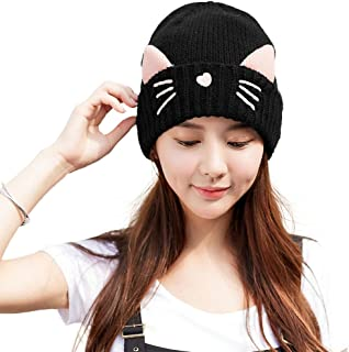 Cat Ears Beanie Wool Pussycat Hats Womens Winter Hat Thick Skull Beanies