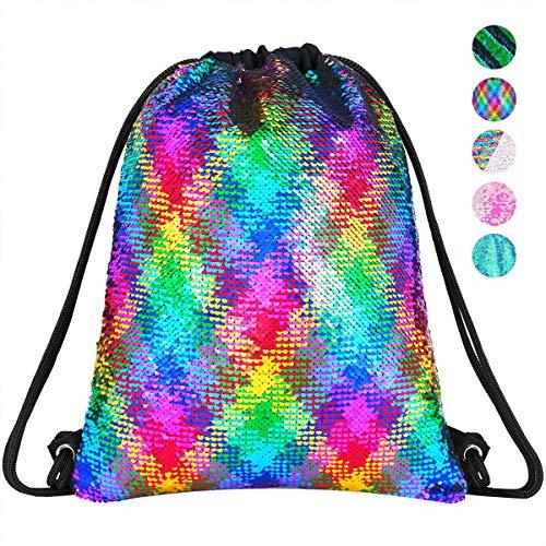 Rainbow Sequin Drawstring Backpack Gym Dance Bags Mermaid Magic Reversible Glitter Bag Unicorn Gift for Girls Daughter Boy Flip Sequin Bag Birthday Gift for Kids Women