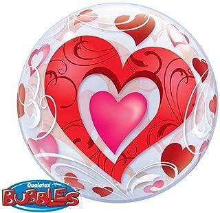 Red Hearts & Filigree Qualatex 22