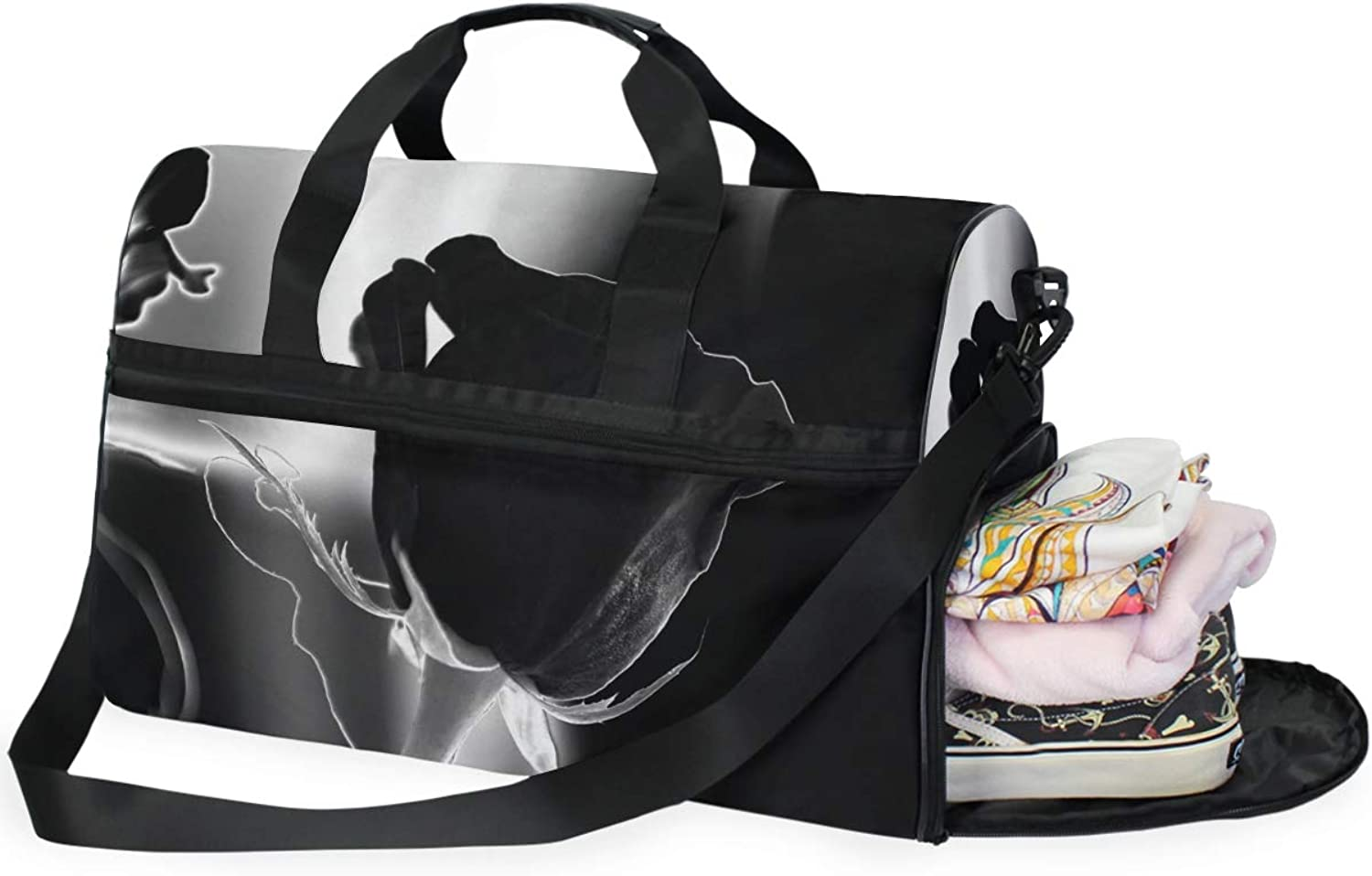 MONTOJ Awesome Black pink Oversized Canvas Travel Tote Duffel Shoulder Overnight Weekend Bag