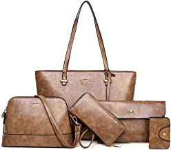 LargeLeather Tote Bag for Women Purses and Handbags Sets Shoulder Bags 5pcs