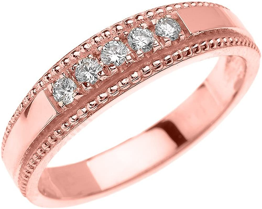 14k Rose Gold Elegant Oakland Mall Diamond Wedding Ring for Him Band Easy-to-use