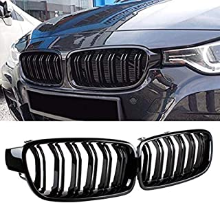 JMY Front Replacement Kidney Grille Grill Compatible with BMW 3 Series F30 F31 Glossy Black (ABS)