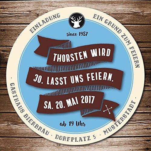 Bierdeckel Einladung Bierfilz individualisiert Geburtstag Bierfilz Retro blau, braun Einladungskarte als Biermarke, Party (25)