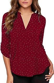 1f909943 roswear Women's Casual Polka Dot Roll Tab Long Sleeve Blouse