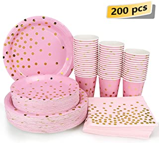 Pink and Gold Party Supplies – 200PCS Disposable Pink Paper Plates Dinnerware Set..