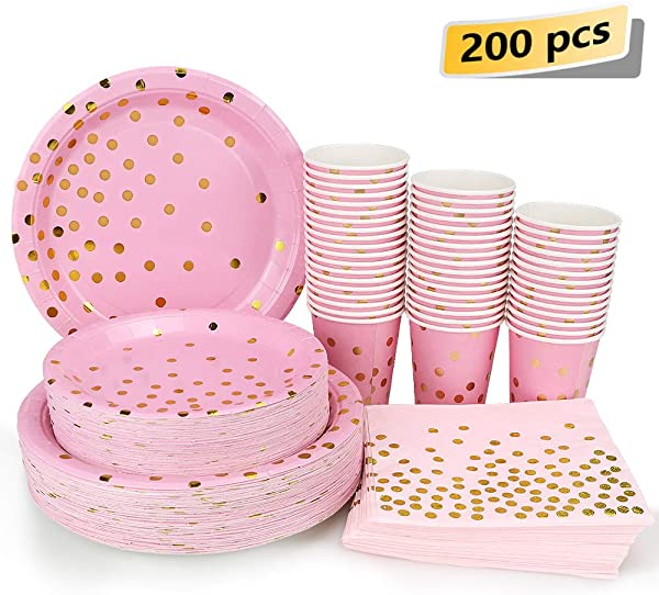 Pink And Gold Party Supplies 200PCS Disposable Pink Paper Plates Dinnerware Set Gold Dots 50 Dinner Plates 50 Dessert Plates 50 9oz Cups 50 Napkins Wedding Birthday Party Baby Shower Christmas