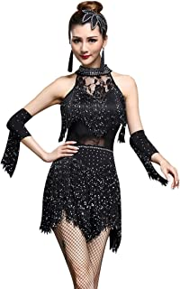 ZX Women's Rhinestone Tassel Flapper Latin Rumba Dance Dress 4 Pieces Outfits